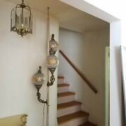Vintage 3 Brass Cherub Tension Pole Lamp With Gilded Globes
