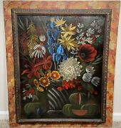 Antique Fruit And Floral Still Life Oil Painting Early American Folk Art