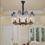 Nordic Modern Iron Glass Peacock Chandelier Led Ceiling Lamp For Bed Living Room