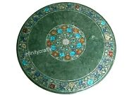 Marble Coffee Table Top Inlay Multi Color Stones Patio Table For Lawn 30 Inches