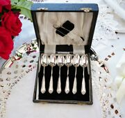 Vintage Set Silver Plated Silverware Stamp Six Spoon And Sugar Tongs With Case