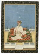 Miniature Portrait Of Asaf Ud Daula Nawab-wazir Of Oudh - Old Indian Painting