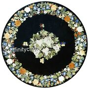 Marble Dining Table Top Inlay Floral Design Patio Table For Lawn Decor 36 Inches