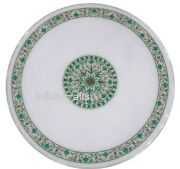 Marble Dining Table Top Inlay Malachite Gemstones Hallway Table For Home 42 Inch