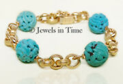 18k Yellow Gold Carved Turquoise Bead Bracelet