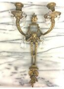 21 French Pair Antique Solid Bronze/crystal 2 Light Arms Detailed Lamps Sconces