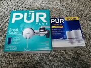New Pur Plus Chrome Horizontal Faucet Mount Water Filter System - And 2pk Refill