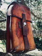 Stunning Old School 1962 Swiss Made Aged Leather And Steel Ammunition Pouch