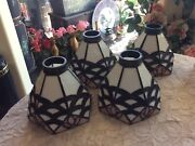 Set 4 Style Bell Shape Leaded Stained Slag Glass Lamp Shades Art Deco