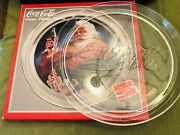 """2 Trays Coca-cola Clear Glass And Santa Christmas Platter 13"""" Vintage1994"""