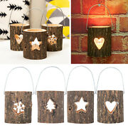 Rustic Style Tealight Candle Holder Wooden Tea Lights Candlesticks Ball Candles