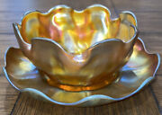 Studios Art Glass Finger Bowl And Underplate Gold Iridescent Favrile
