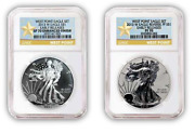 2013 W Silver Eagle 2 Pc West Point 35th Anniversary Set - Ngc Pf70 Star Label