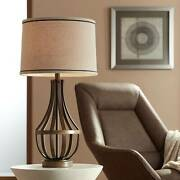 Industrial Farmhouse Table Lamp Oiled Bronze Light Wood For Living Room Bedroom