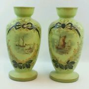 2pc Unique Antique Green Glass Vases Jars Victorian Hand Painted Ships Boats