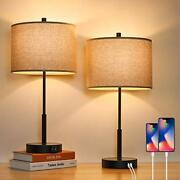 Set Of 2 Touch Control Tall Table Lamps With 2 Usb Ports 3-way Dimmable Moder...
