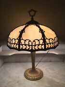 Antique Arts And Crafts Table Lamp Featuring Cream Beige Convex Slag Glass Nice