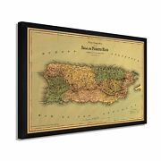 1886 Puerto Rico Map - Framed Vintage Map Of Puerto Rico Wall Art Poster Print