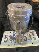 Vintage Aluminum Coal Miner's Lunch Pail Bucket And Mining Light And Wy Plate