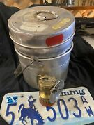 Vintage Aluminum Coal Miner's Lunch Pail Bucket And Carbide Mining Light Lamp