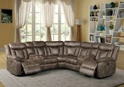 Loveseat Wedge Console 3pc Sectional Sofa Set Reclining Motion Pu Fabric