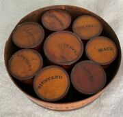 Antique Round W/banded Wooden Spice Box W/8 Individual Labeled Spice Containers