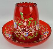 Rare Antique Victorian Bristol Glass Cherry Red Hand Painted Fairy Lamp Ground