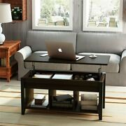 New Wood Lift Top Coffee Table With Hidden Storage And Shelf Round Edge Design