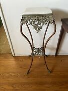 Antique End Table Metal Stand W/ Marble Top