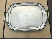 Antique Small Silverplate Footed W/brass Handles Dresser Tray- Crossed Keys Mark