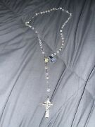 Sterling Silver Rhodium Finish Rosary Bead Necklace Cross Religion Used Vintage.