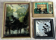 Vintage Reverse Painted Silhouette - 3 Piece Lot 1 Has Advertising And Thermometer