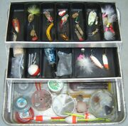 Vintage Umco Two Tray Fishing Tackle Box 132a With Gear