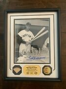 Very Rare Ted Williams Signed And Game Used Bat Chip Baseball Photo