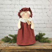 Mrs C Santa Claus Fabric Doll Whimsy Country Christmas Farmhouse Winter Holiday