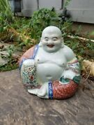 Antique Chinese Famille Rose Porcelain Happy Buddha Statue 10.5 Tall X 11.25 W