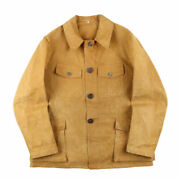 French Hunting Jacket 4 Poke Animal Button Cotton Duck Men's Size 48 50s Vintage
