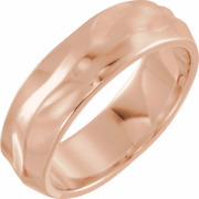 6mm Textured Wedding Band In 18k Rose Gold