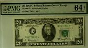 1963a 20 Pmg64 Epq Choice Uncirculated Federal Reserve Star Note Chicago 3806