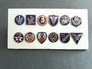 Vintage Military Insignia Crest Enamel Badges Pins Lot Of 12 No Makerand039s Marks