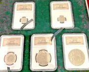 Set Of 5 Spanish El Cazador Shipwreck Complete Reales Coin Set Ngc Authenticity