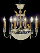 Banci Firenze French Tole Silver Gilt Quilted Crystal Diamond Glass Chandelier