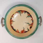 Rare Modernistic Art Deco Royal Rochester 10 Pie Plate With Metal Holder