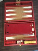 Vintage All-mart Butterscotch And Red Bakelite Backgammon Set W/box And Dice