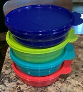 New Tupperware Microwave Reheatable Cereal Bowls Set Of 4 - 2-cup