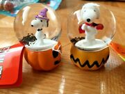 Peanuts Mini Halloween Snow Globes Snoopy With Vampire Cape And Witch Hat
