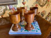 Set Of Four Antique English Turned Wood Treen Goblets Cups Circa 1920