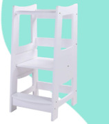 Egree Toddlers Kitchen Step Stool With Safety Rail Kids Wooden Standing Tower 3