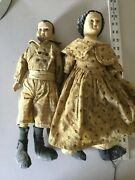Honey And Me Pair Of Distressed Antique Look China Head Dolls Primitive