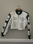 Vintage American Toons 90's Betty Boop White And Black Leather Jacket Large